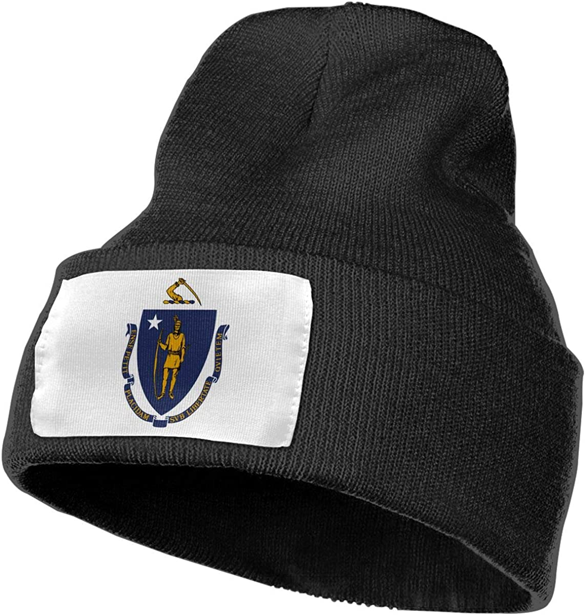 Flag of Massachusetts-MA Men/&Women Warm Winter Knit Plain Beanie Hat Skull Cap Acrylic Knit Cuff Hat