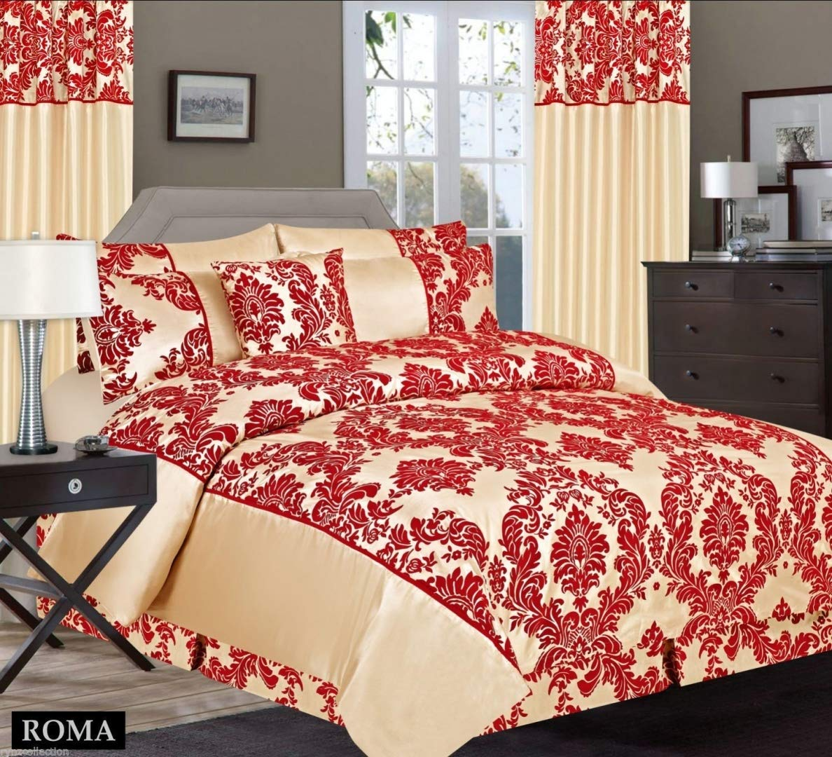 Antonio Damask 4 Pcs Flock Complete Bedding Set Duvet Cover Set Double & King by Lizzy® (Double, Red Black)