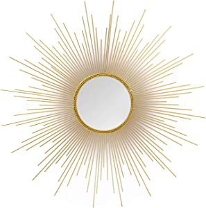 Adeco Accent Gold Sunburst Wall Mirror Art Decoration, Classic Metal Wall Hanging Mirror Set - 27.6 x 27.6 inches