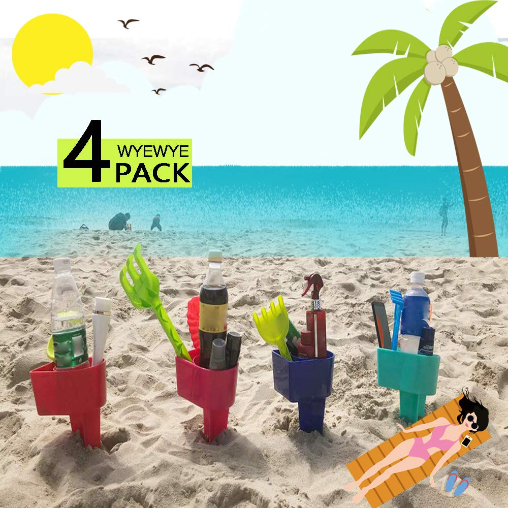 WYEWYE Beach Sand Drink Beverage Cup Holder Beach Vacation Accessory Multifunction Sand Grass Drink Cup Holder for Beverage Phone Sunglasses Sunscreen Key Pack of 4(Color Randomly)