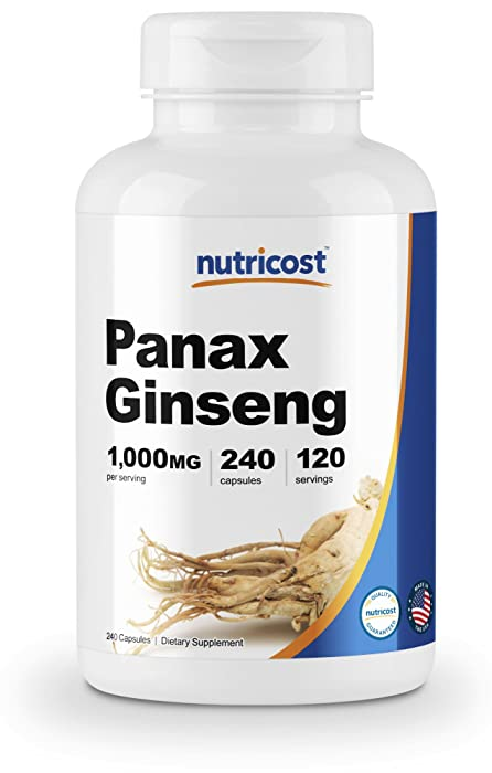 Nutricost Panax Ginseng 1000mg, 240 Capsules - Non GMO, Gluten Free, 120 Servings
