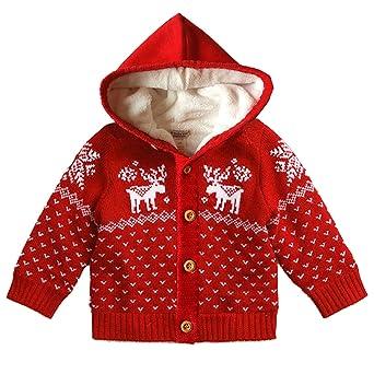rivenditore all'ingrosso fd59c 7a82c Funnycokid Cardigan Bambino Giacca Bimba Maglione Bambino Cardigan Bimba  Cappuccio Natale Maglioni Velluto di Corallo per l'inverno