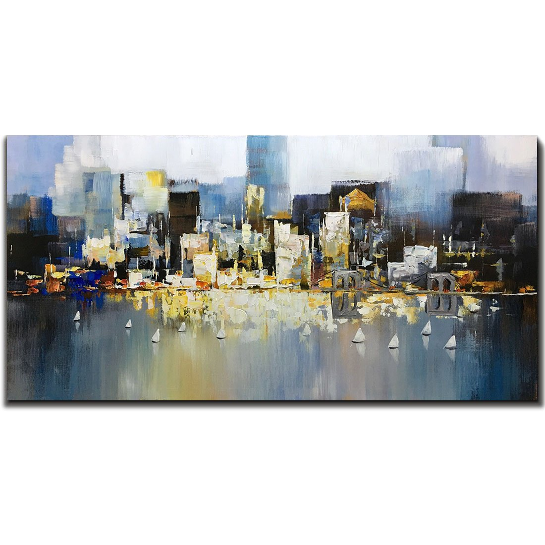 Metuu Modern Canvas Paintings, City Lights Up - Texture Palette Knife Paintings Modern Home Decor Wall Art Painting Wood Inside Framed Ready to hang 24x48inch