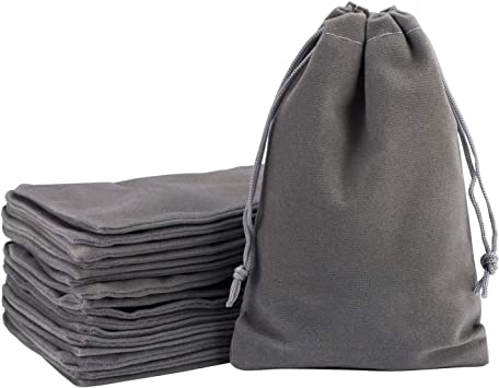 Velvet Bags Drawstring, EUSOAR 20 pcs 5x7 inch Jewelry Pouches with Drawstring, Reusable Durable Bags, Shopping Package Business Store Pouches, Gift Pearl Cosmetics Tarot Cards Soap Bags-Grey
