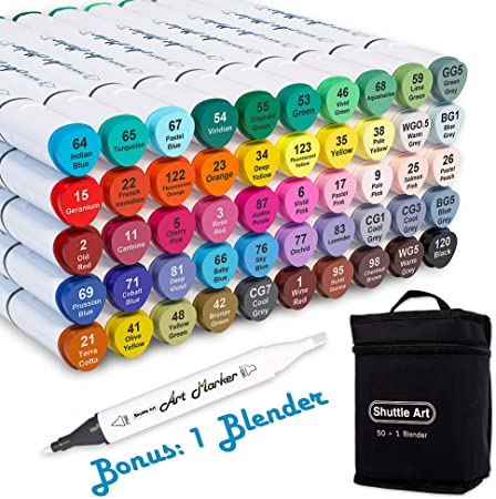 50-Color Alcohol-Based Dual Tip Art Markers