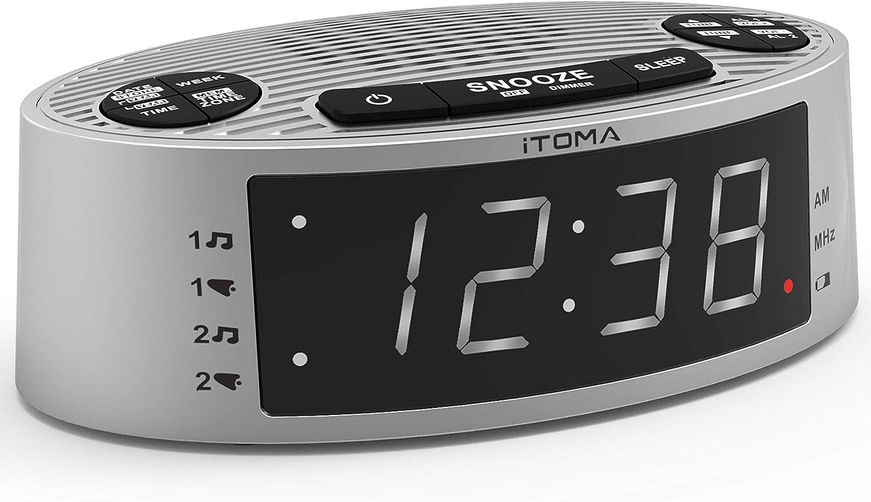 iTOMA Alarm Clock Radio,FM Radio,Dual Alarm,Buzzer and Radio Ringtone,Perpetual Calender,USB Charging Port