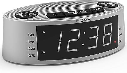 iTOMA Radio réveil, Radio FM avec écran à Del Blanc de 0,9 po, Alarme Double, Port de Chargement USB, atténuateur de luminosité, Sauvegarde de la