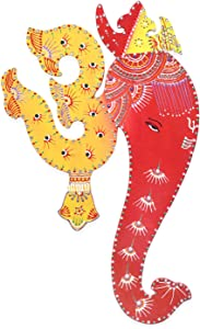Ethnic Avenue Bright Yellow & Red Indian Art Wall Decor Hanging Painting of Lord Ganesha & Spiritual Om - Authentic Handmade Hindu Art of Prosperity