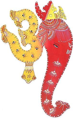 Ethnic Avenue Bright Yellow Red Indian Art Wall Decor Hanging Painting of Lord Ganesha Spiritual Om – Authentic Handmade Hindu Art of Prosperity
