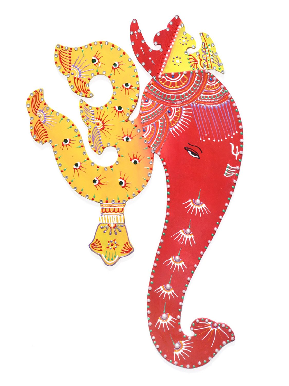 Ethnic Avenue Bright Yellow & Red Indian Art Wall Decor Hanging Painting of Lord Ganesha & Spiritual Om - Authentic Handmade Hindu Art of Prosperity