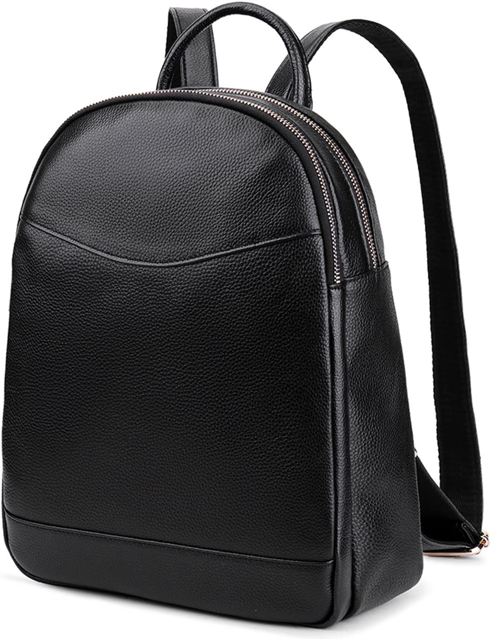Coolcy Genuine Leather Backpack for Women Hotstyle Casual Bookbags Black