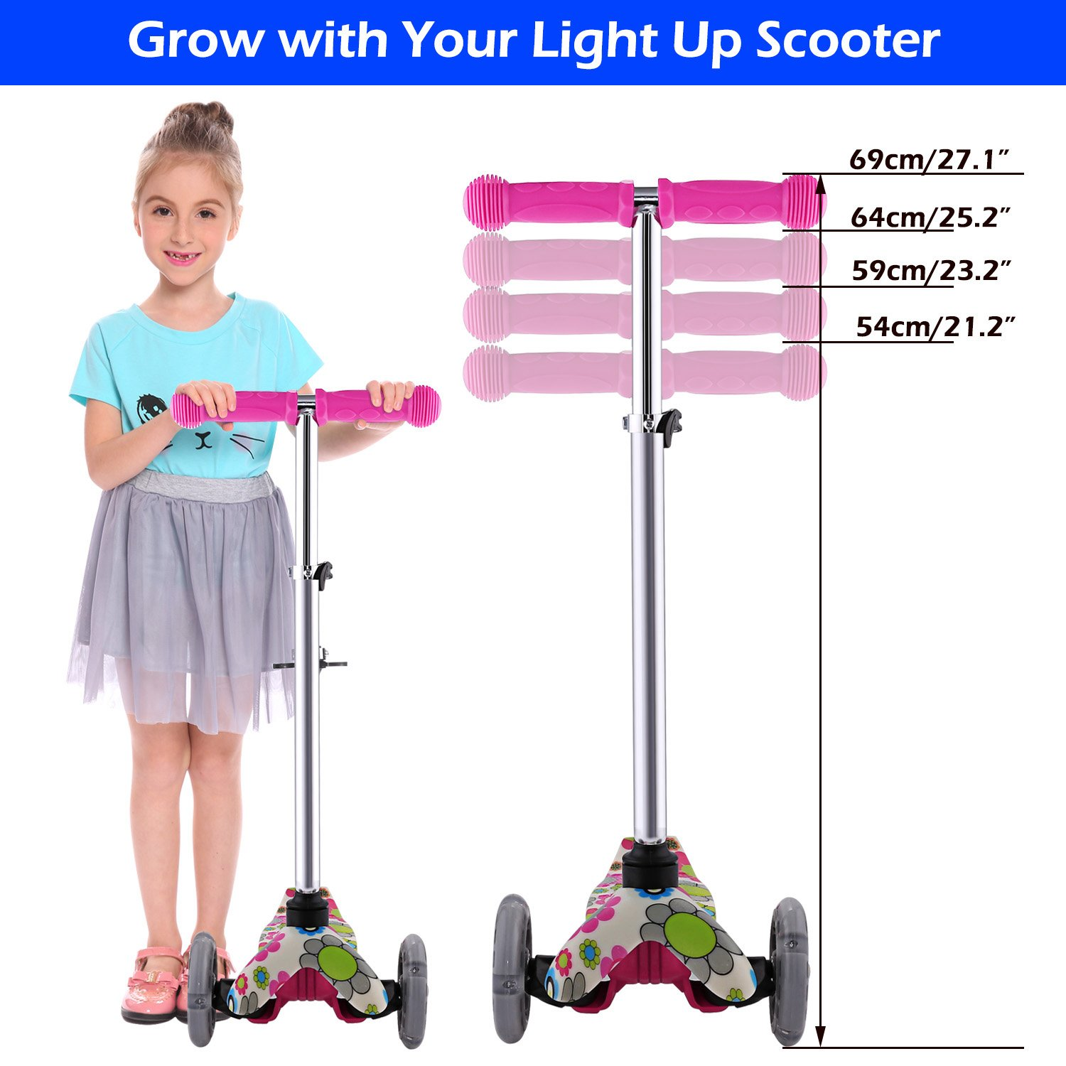 Amazon.com: Moroly Kids Scooter 2 Wheel Kick Scooter LED Scooter Children Push Folding Flicker Scooter for Boys Girls (US Stock) (Green): Toys & Games