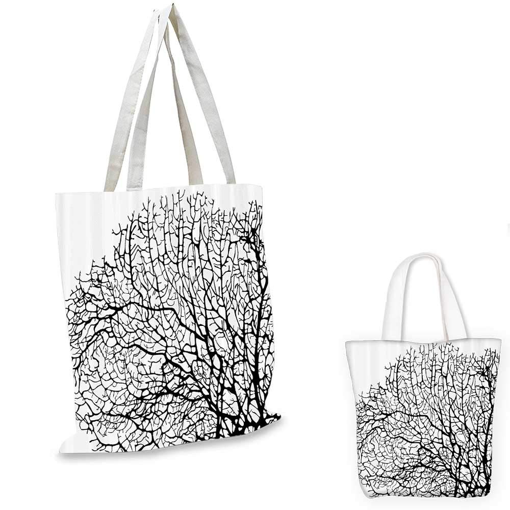 Nature canvas messenger bag Silhouette of Twisted Coral Reef Branches in Minimalist Tones Underwater Design canvas beach bag Black White 12x15-10