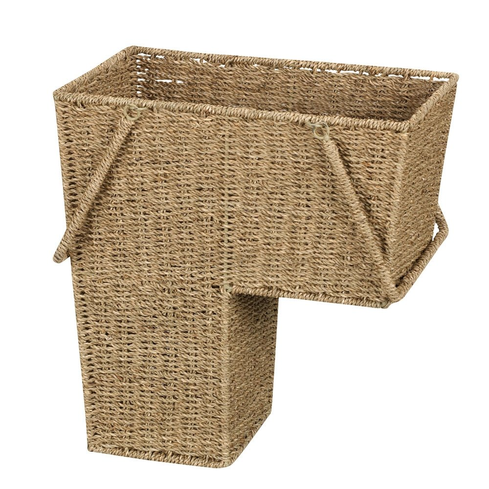 Household Essentials ML-5647 Seagrass Wicker Stair Step Basket with Handle | Natural Brown by Household Essentials