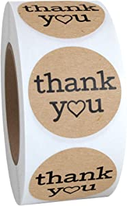 1.25 Inch Round Thank You Labels with Heart, Kraft Color, 500 Stickers……