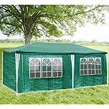 Hengda® 3 X 6 m XXL Hochwertiges Festzelt PE-Pavillon stabil wasserdicht Partyzelt Gartenzelt inkl. 6 abnehmbaren Seiten, grün
