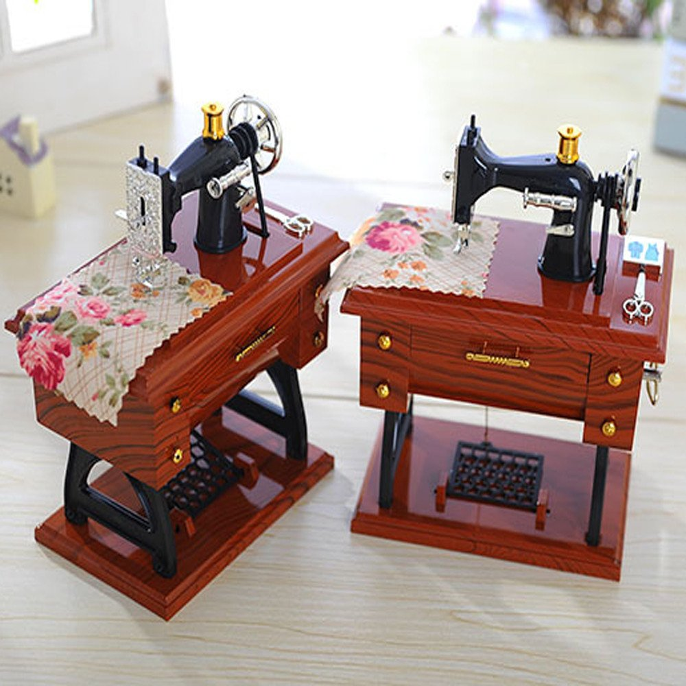 Creative Vintage Music Box Mini Sewing Machine Style Mechanical Birthday Gift Table Decor Birthday Gift Home Accessories,Musical Boxes TUDUZ Music Box New Multicolor