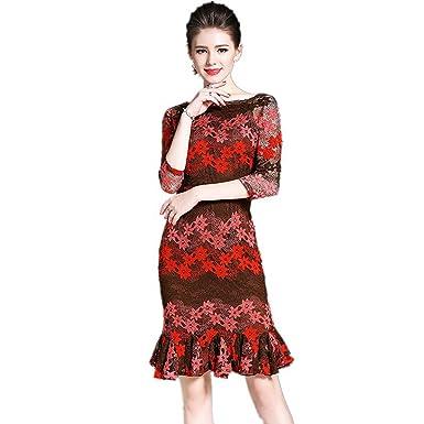 2733142dc75 SONGQINGCHENG Nouveaux Vêtements Femme Été Mixte De Haute Qualité Robe en  Dentelle Couleur Robe Élégante