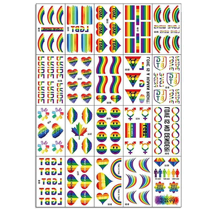 123 UNIDS Rainbow Tatuajes Temporales Del Arco Iris Amor Orgullo ...