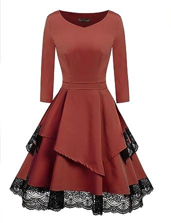 2897806078ae ACEVOG Womens Vintage 3 4 Sleeve Lace Fit Flare Elegant Cocktail Party Dress  (Dark