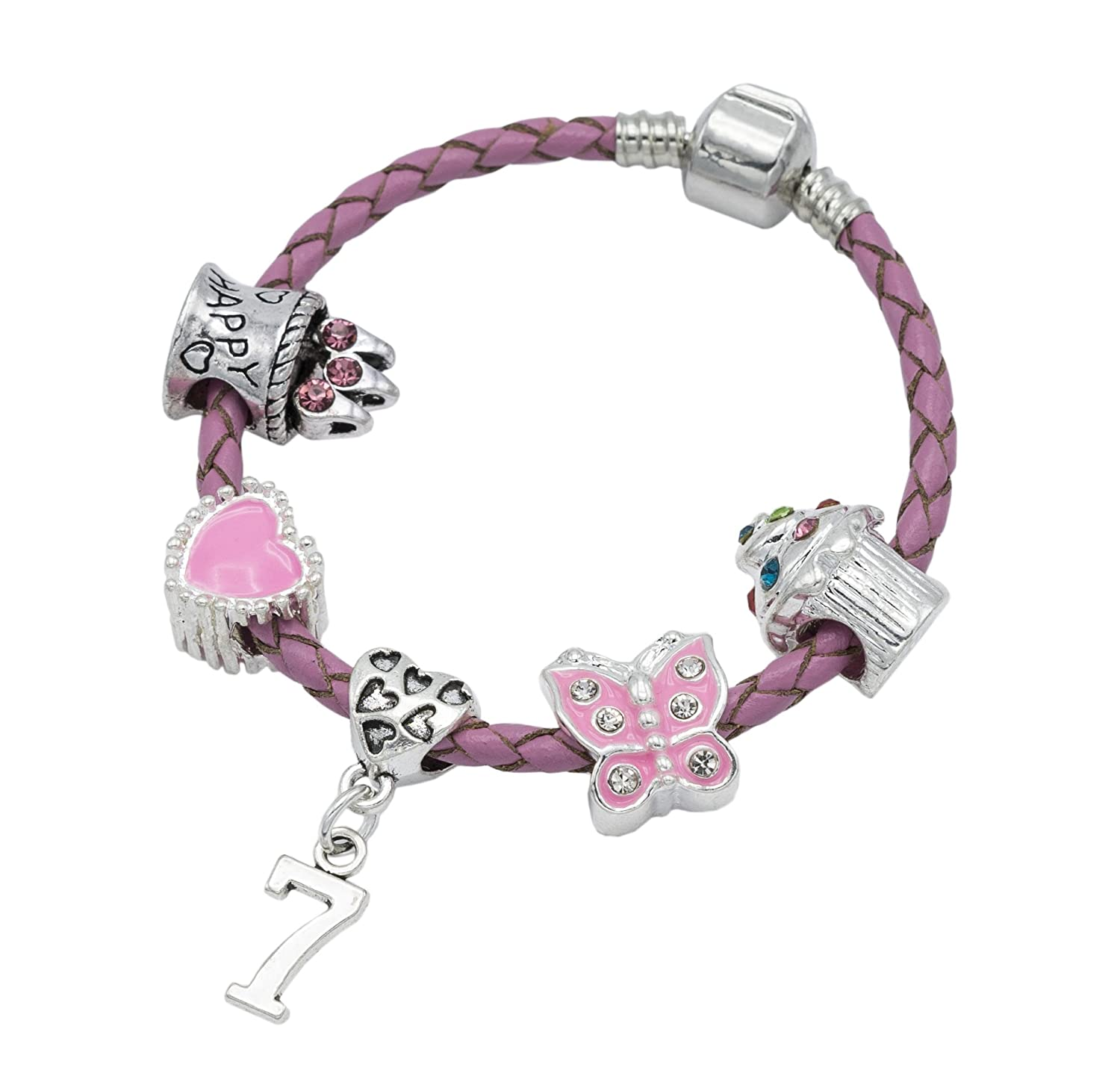Bracelet fille à breloques en cuir rose « Happy 7th Birthday » - Pochette cadeau Jewellery Hut BRKID7