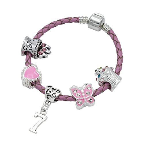 7th BIRTHDAY GIRL BRACELET Birthday Charm Bracelet 7 Year Old Daughter Gift Idea
