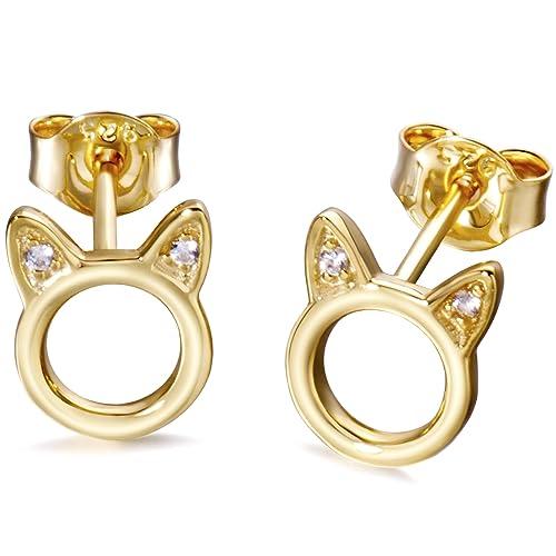 Earrings 1 Pair New Women Silver Color Stud Earrings Lovely Hollow Out Cats Cartoon Earrings Stud Earrings