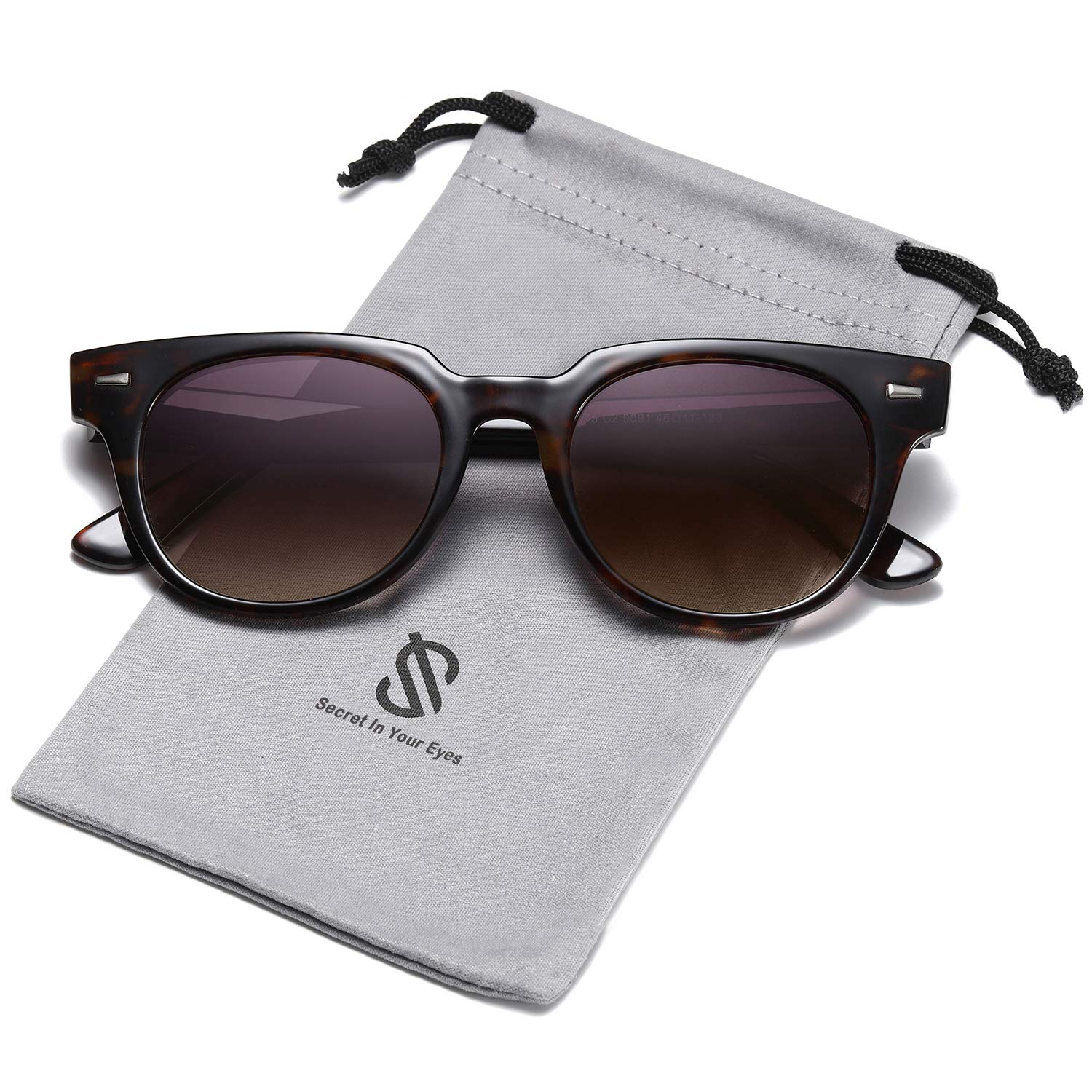 SOJOS Square Polarized Sunglasses for Men and Women MEMORIES SJ2075 with Tortoise Frame/Grey&Brown Polarized Lens by SOJOS