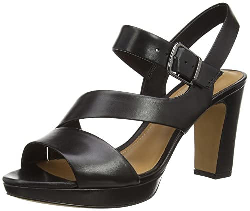 eb656a638716 Clarks Women s Jenness Soothe Black Leather Fashion Sandals - 8.5 UK India  (42.5 EU