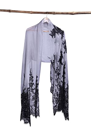 6c544297dc Handcrafted Soft Cashmere Scarf with French Lace and Swarovski ...