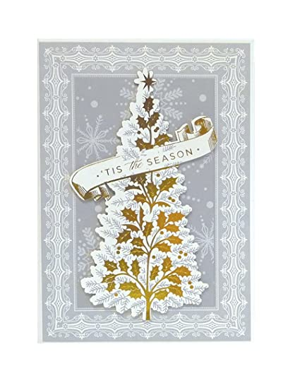 Anna Griffin Christmas Cards.Amazon Com Anna Griffin Box Of 10 Silver Gold Tree Tis The Season