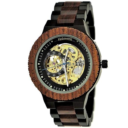 Hecha a Mano de Madera de Alemania® automático para Hombre de Reloj Certificado de Madera Natural Reloj Madera Reloj de Pulsera Marrón Negro Oro Analog: ...