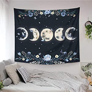 Ovenbird Moon in Bloom Tapestry, Moon Phases Flowers and Butterflies Floral Wall Tapestry, Boho Celestial Aesthetic Black Wall Hanging, Wall Art Room Decor for Bedroom, Ceiling, Dorm, 51