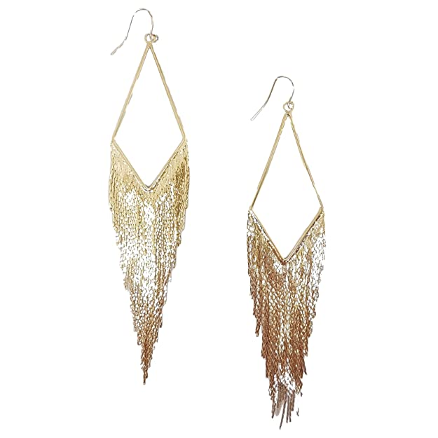 Vintage Style Jewelry, Retro Jewelry Mina Gold Cascading Fringe V-Drop Shoulder Duster 5.3 inch Drop Extra Long Earring $14.99 AT vintagedancer.com