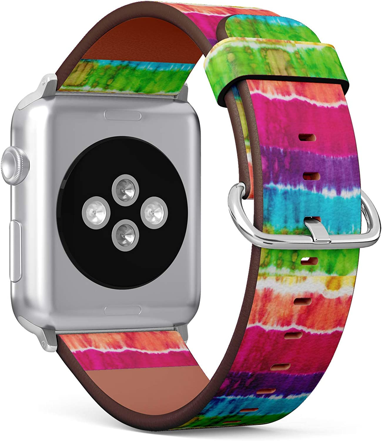 (Hippie tie dye Pattern Abstract Background) Patterned Leather Wristband Strap for Apple Watch Series 4/3/2/1 gen,Replacement for iWatch 38mm / 40mm Bands