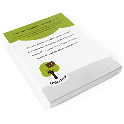 OfficeTree® 50 hojas de transparencia de alta calidad - DIN A4 transparentes - Para impresora láser, copiadora o retroproyector - Para la mejor ...