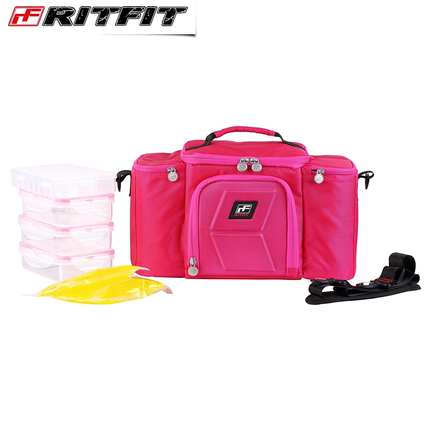 RitFit Cooler&Warm Meal Insulated Lunch Bag with Snap Lid Containers and Ice Pack (Rose Red)
