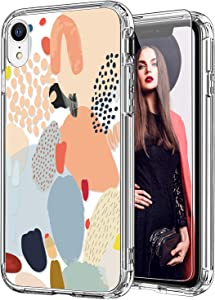 ICEDIO iPhone Xr Case with Screen Protector,Clear with Multi-Colored Painting Patterns for Girls Women,Shockproof Slim Fit TPU Cover Protective Phone Case for iPhone XR