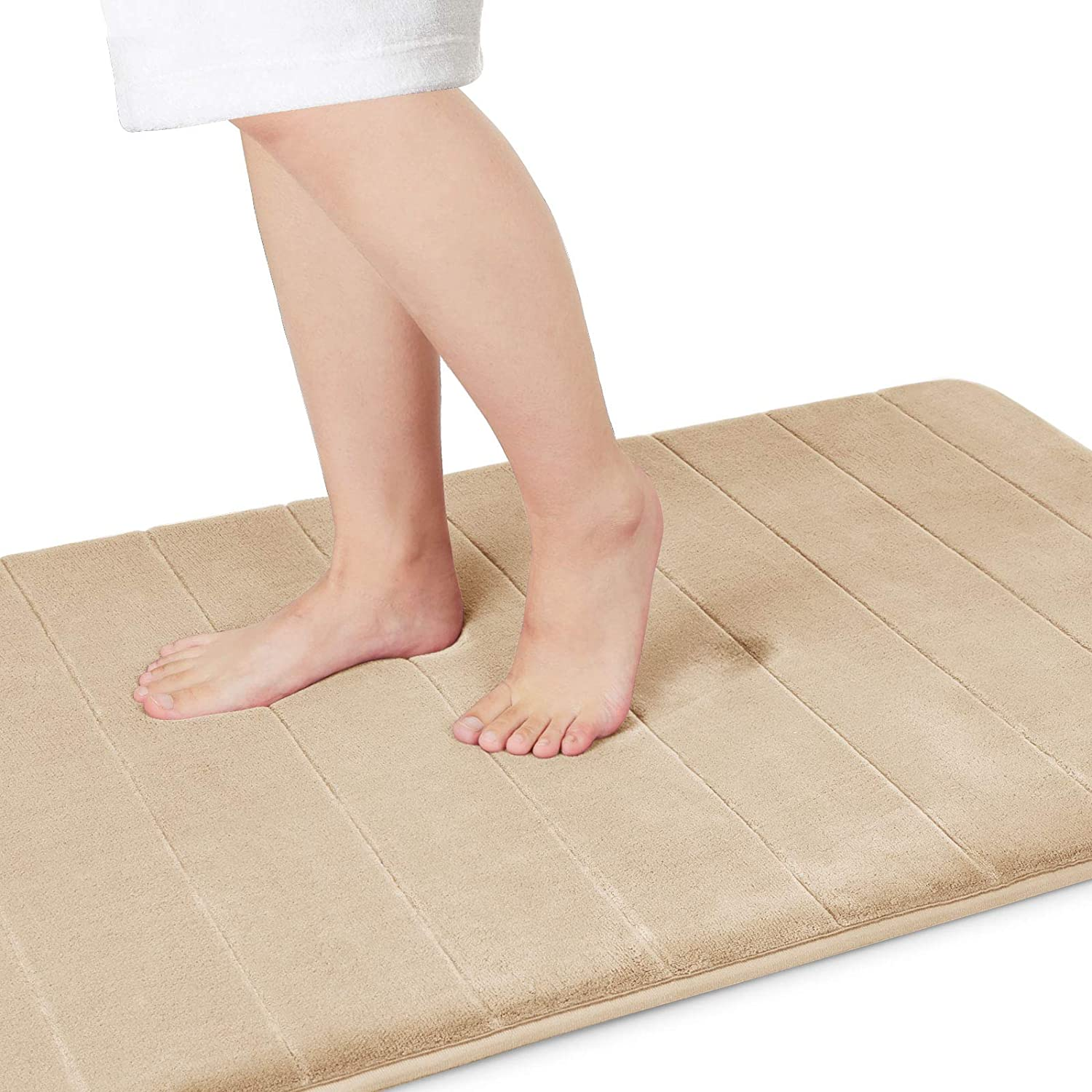 Yimobra Memory Foam Bath Mat Large Size 44.1 x 24 Inches, Comfortable, Soft, Super Water Absorption, Machine Wash, Non-Slip, Thick, Easier to Dry for Bathroom Floor Rug, Beige