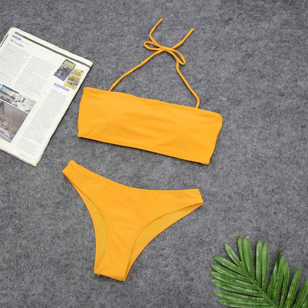 Mujeres Bandeau Bandage Bikini Set Push-Up Brasile/ño Ropa de Playa Traje de Ba/ño Color s/ólido Bikinis Mujer 2019 Tanga