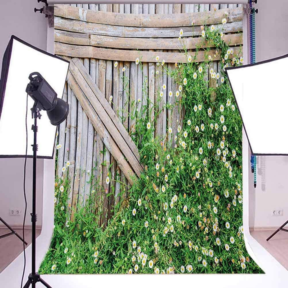 Bamboo Fence Covered by Ivy Daisy Flower Blooms Chamomile Petals Picture Background for Baby Shower Bridal Wedding Studio Photography Pictures Green Pale Brown Farmland 8x10 FT Photography Backdrop