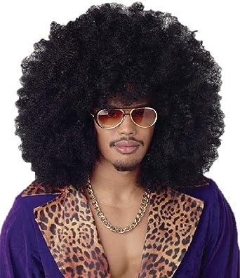 Peluca XXL rizada tipo afro, color negra, para carnaval, disfraces
