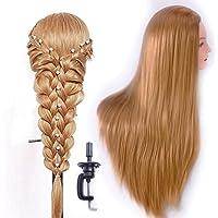 HAIREALM Têtes d'exercice Tête À Coiffer Coiffure Cosmétologie Pratique Mannequin Poupée 100% de Cheveux Synthétiques+ Titulaire (ESC27P- Blond)
