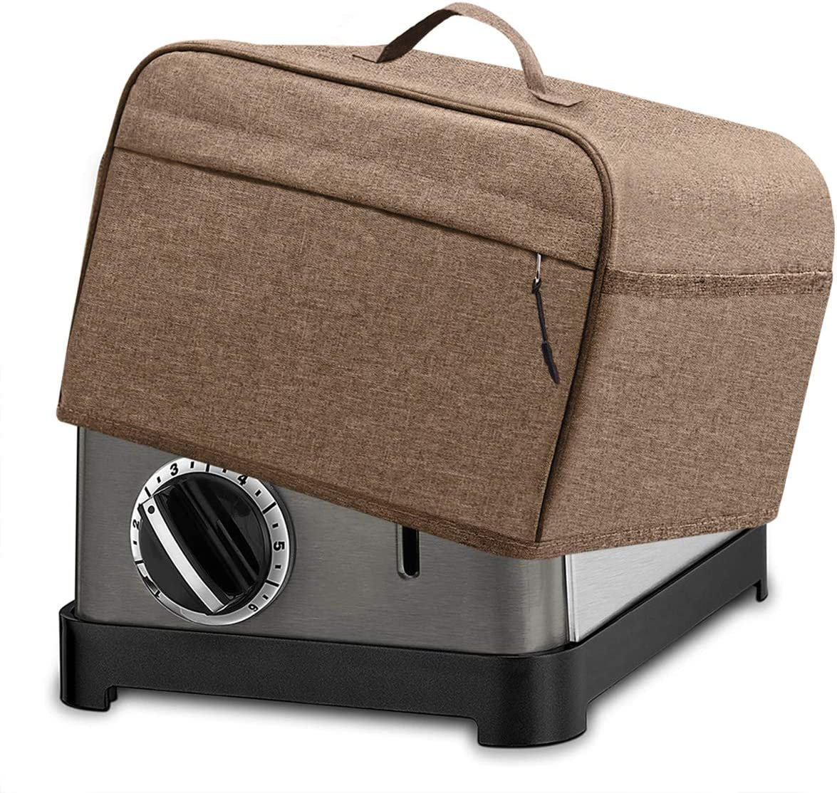 INMUA 2 Slice Toaster Cover with 2 Pockets, Toaster Appliance Cover with Top handle, Dust and Fingerprint Protection, Machine Washable (Brown)