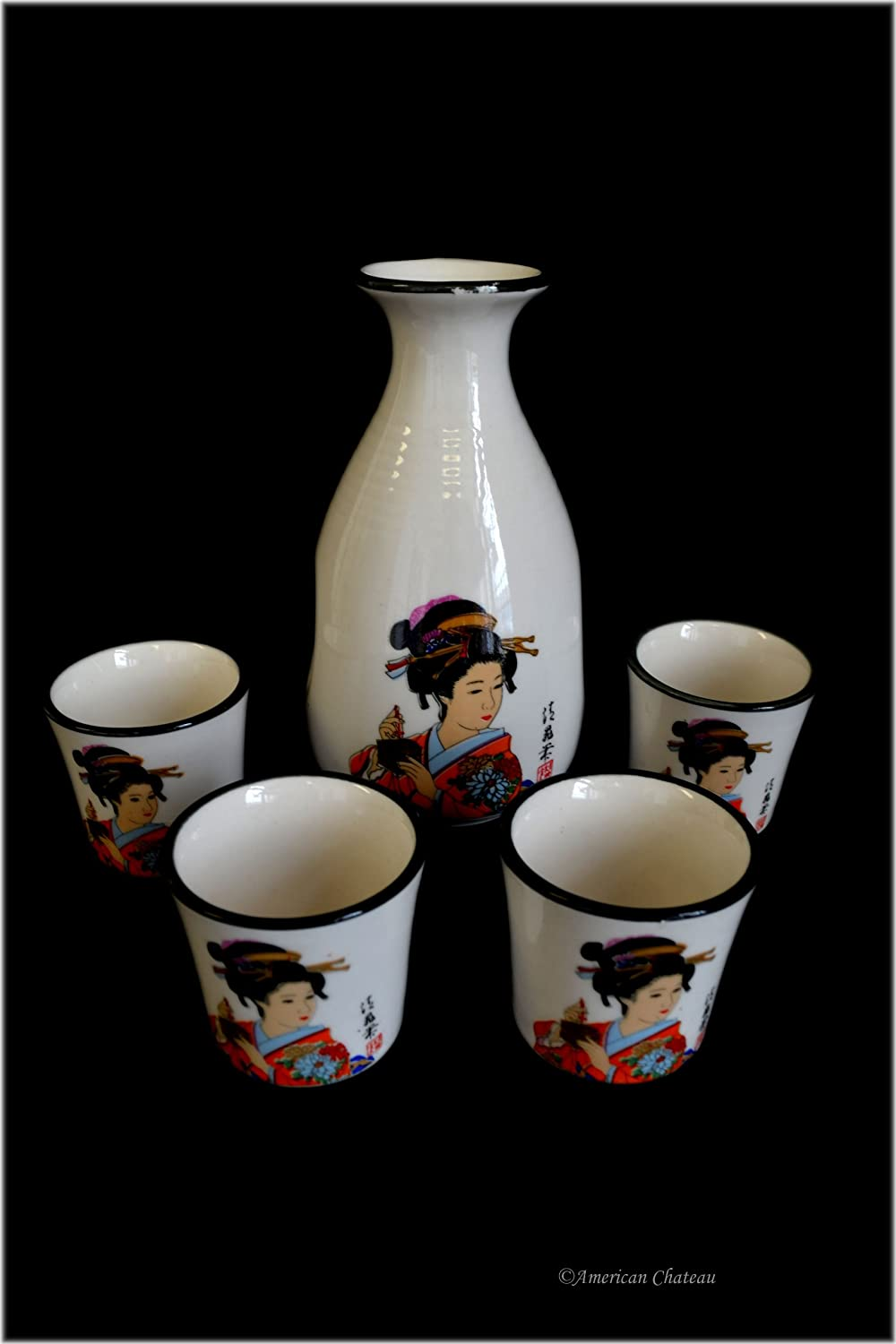 5 pc Japanese Geisha In Kimono Boxed Porcelain Saki Rice Wine Set with Carafe American Chateau