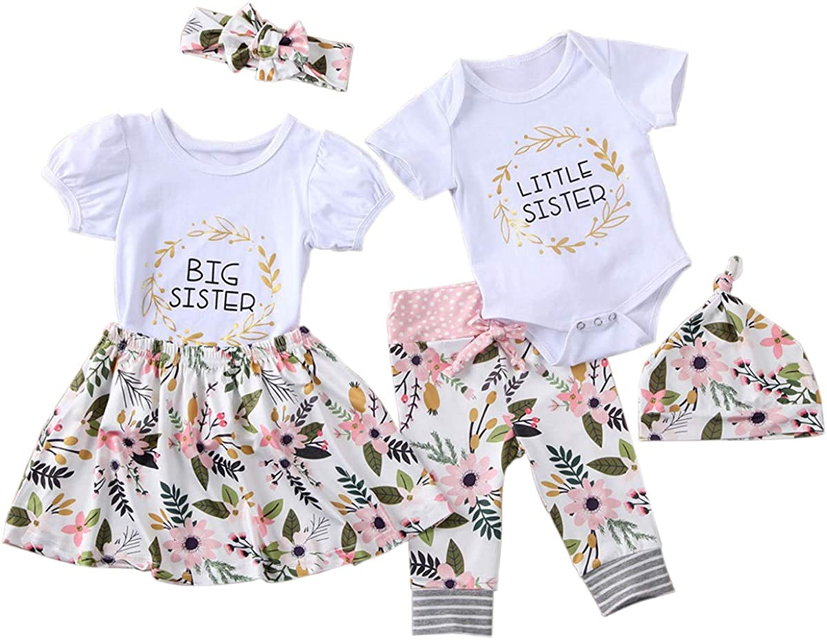 Baby Girls Big Little Sister Matching Outfits Short Sleeve Shirt Top PU Shorts Set