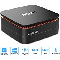 ACEPC AK1 Mini PC, Intel Celeron J3455,6GB RAM + 64 GB di archiviazione, Windows 10 Home, Supporto mSATA / 2.5 '' SSD/HDD, 4K, Dual Band WiFi, Gigabit Ethernet (6GB +64 GB/Intel Apollo Lake J3455)
