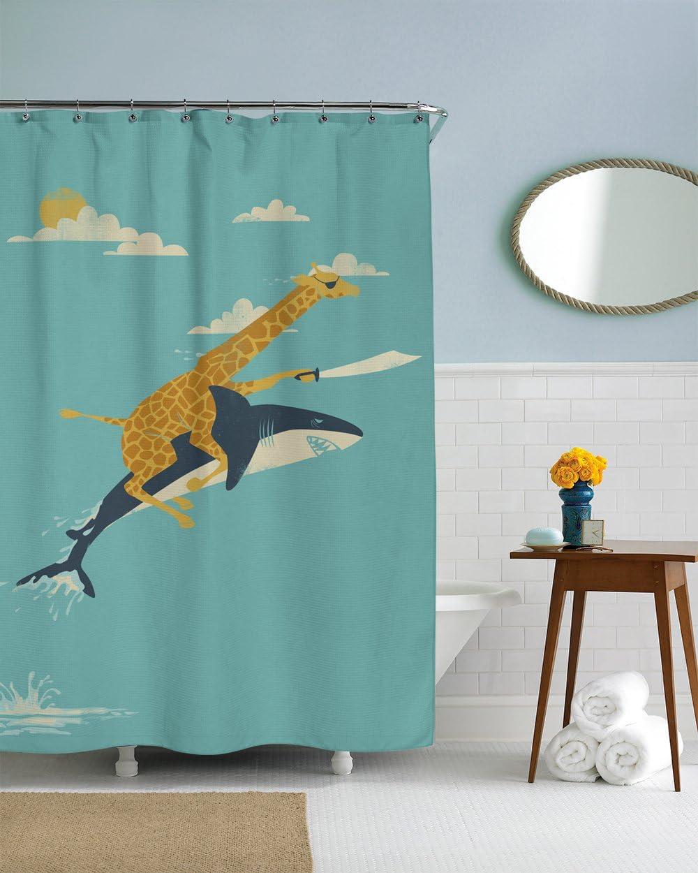 Amazon Com Shark Shower Curtain Beach Cabin Decor Nautical Bathroom Ideas Giraffe Shower Curtain Pirate Theme Decor Beach Theme Art Giraffe Art Home Kitchen