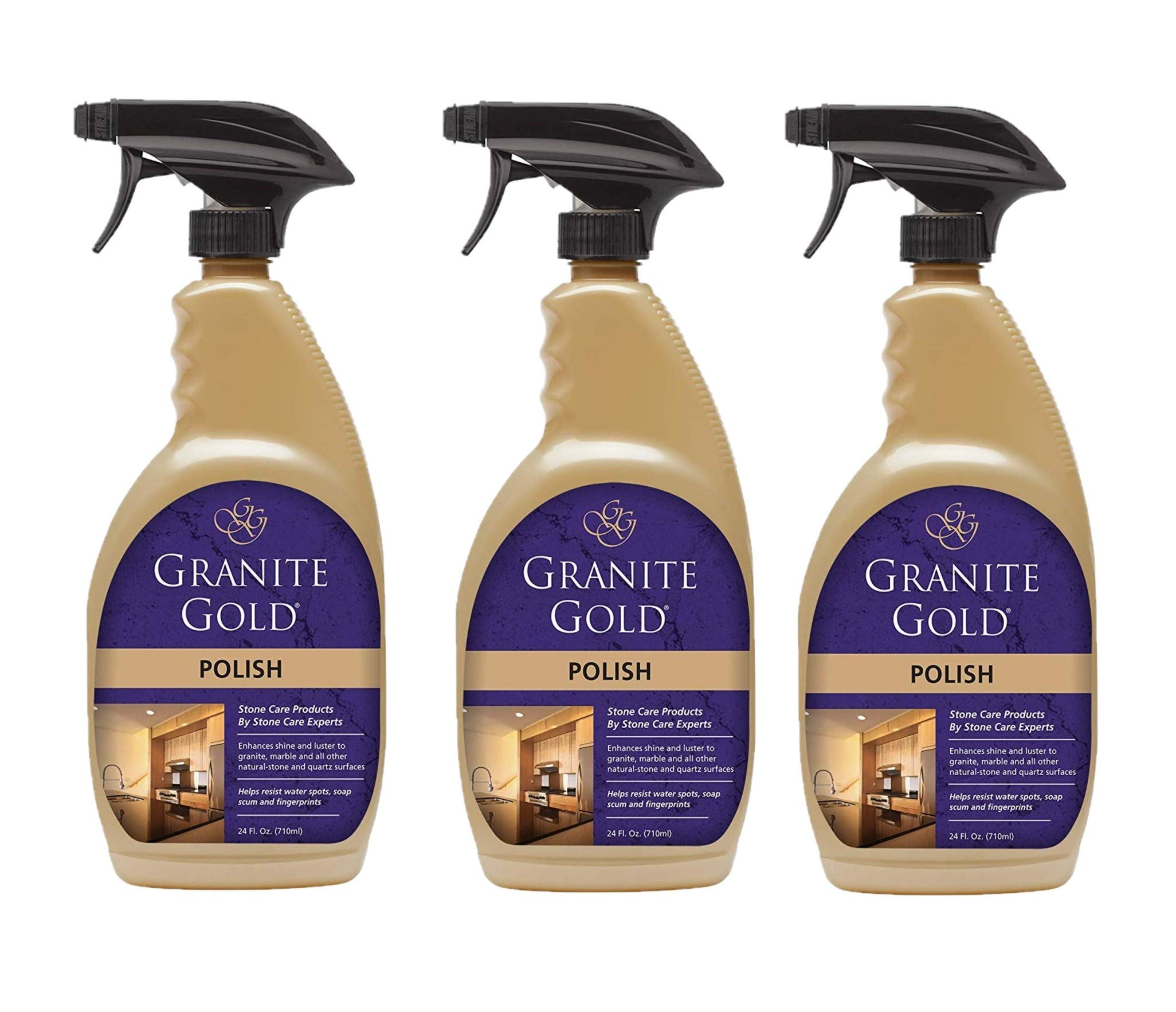 Granite Gold Polish Spray - Maintain Shine And Luster Of Natural Stone Surfaces - 24 Ounces, Pack of 3 by Granite Gold