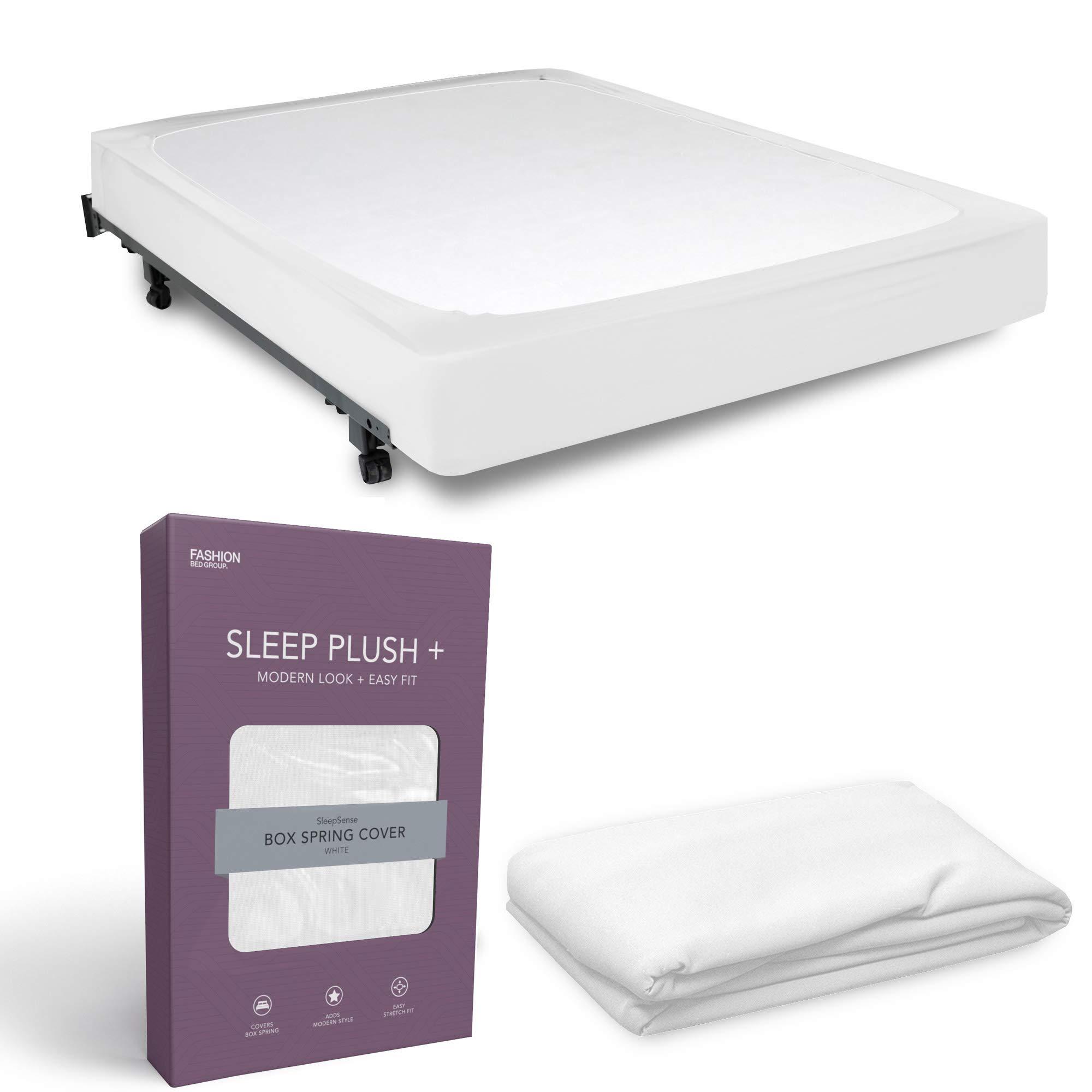 Queen FREE2DAYSHIP TAXFREE Sleep Plush StyleWrap White Fabric Box Spring Cover